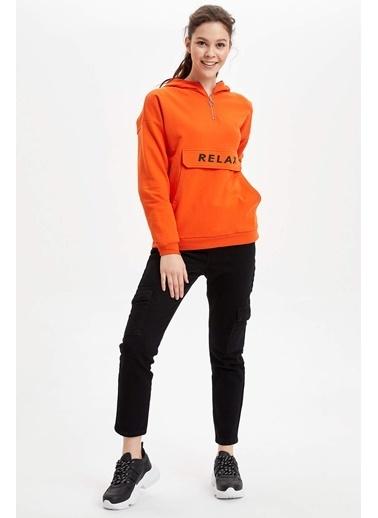 DeFacto Baskılı Kanguru Cepli Kapüşonlu Sweatshirt Oranj